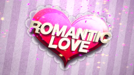 luty : Animated closeup Romantic Love text and motion romantic heart on Valentine day shiny background. Luxury and elegant dynamic style template for holiday