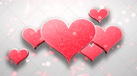 luty : Animation closeup motion romantic hearts on Valentine day shiny background. Luxury and elegant dynamic style template for holiday