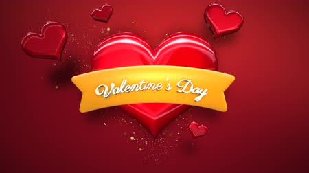 treyler : Animated closeup Valentine Day text and motion romantic heart on Valentine day shiny background. Luxury and elegant dynamic style template for holiday Stok Video