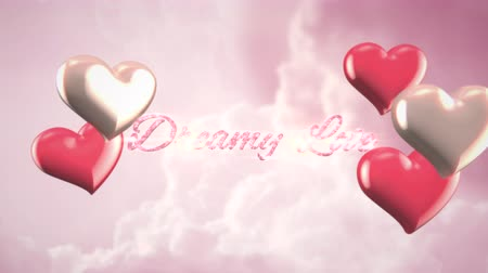 caligrafia : Animated closeup Dreamy Love text and motion romantic heart on Valentine day shiny background. Luxury and elegant dynamic style template for holiday