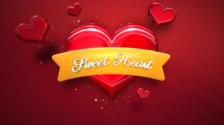 kaligrafia : Animated closeup Sweet Hearts text and motion romantic heart on Valentine day shiny background. Luxury and elegant dynamic style template for holiday