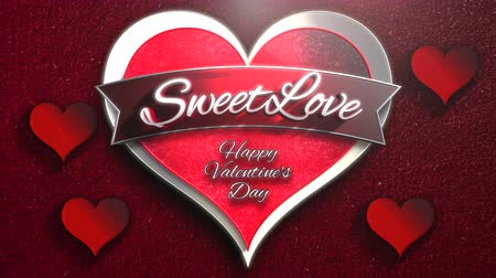 kaligrafia : Animated closeup Sweet Love text and motion romantic heart on Valentine day shiny background. Luxury and elegant dynamic style template for holiday Wideo