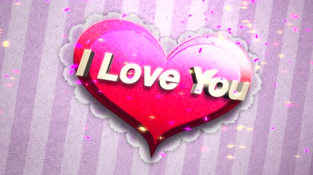 kaligrafia : Animated closeup I Love you text and motion romantic heart on Valentine day shiny background. Luxury and elegant dynamic style template for holiday