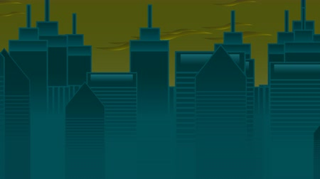 jednoduchý : Cartoon animation background with motion clouds and buildings, abstract cityscape backdrop. Luxury and elegant dynamic animation footage of cartoon or kids theme