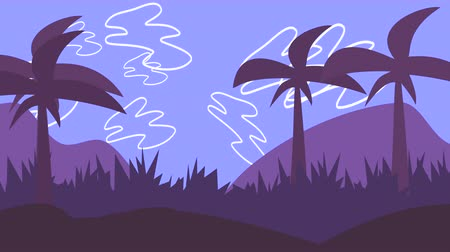 koşullar : Cartoon animation background with palms in mountain, abstract backdrop. Luxury and elegant dynamic animation footage of cartoon or kids theme
