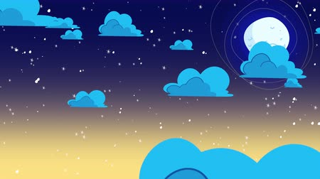 Cartoon animation background with motion clouds and moon, abstract backdrop. Luxury and elegant dynamic animation footage of cartoon or kids theme