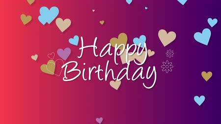 glória : Animated closeup Happy Birthday text on  holiday background. Luxury and elegant dynamic style template for holiday card