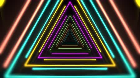 Motion colorful neon triangles, abstract background. Elegant and luxury dynamic club style template