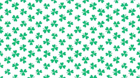 st patrick : Motion green shamrocks, Saint Patrick Day animation background. Luxury and elegant dynamic style template for holiday Stock Footage