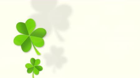 Motion green shamrocks, Saint Patrick Day animation background. Luxury and elegant dynamic style template for holiday Wideo