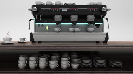 expressed : Coffee Machine With Flying Cups, 3D Illustration, 3D Rendering