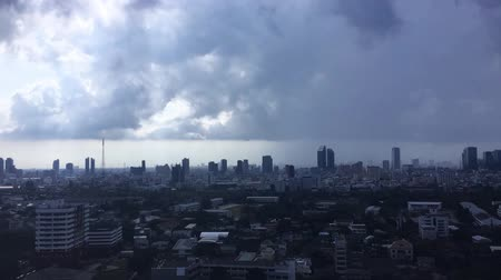 Dark clouds of storm cover the city in Bangkok Thailand.