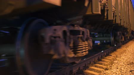 sleepers : The wagons of the train are passing by. Close up. Stock Footage
