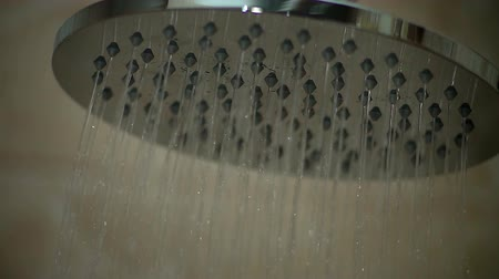 Water Sprays From Shower Head. Slow motion