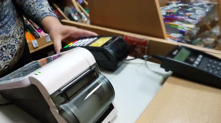 payment terminal : Customer Paying With Smartphone. Nfc Technology.