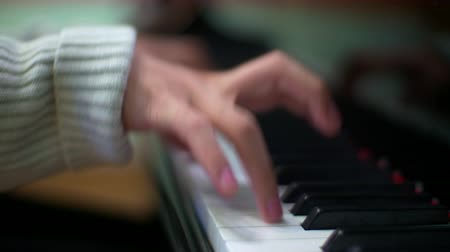 Man Plays The Piano Chord. Close up. Stock Footage