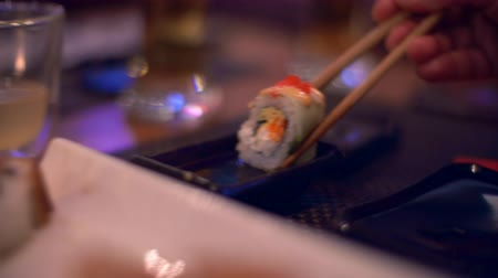 california rolls : The food is Maki Sushi in a Japanese restaurant