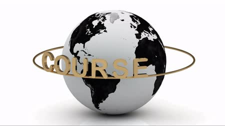 kurs : Course on a gold ring rotates around the earth on a white background