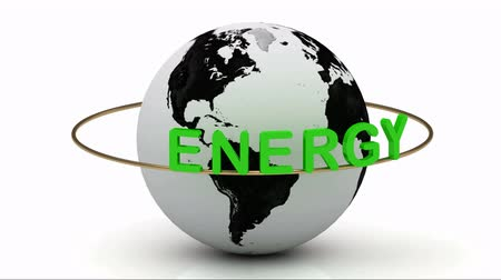 salva vidas : Green energy on a gold ring rotates around the earth on a white background Vídeos