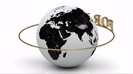 sembol : Revolving around the earth gold lettering FOREX on a gold ring. Footage 1920x1080
