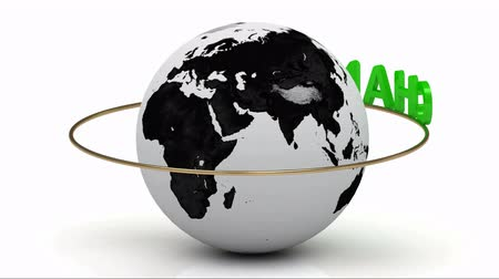változás : Rotating earth and the inscription green lettering CHANGE around the earth on a gold ring. Footage 1080p Stock mozgókép