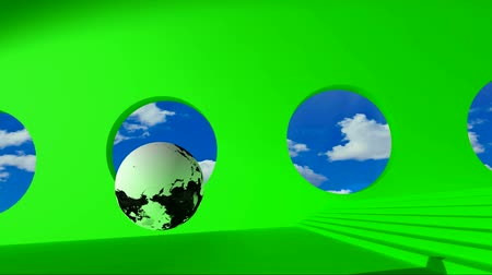 gizlilik : Green screen. Black and white globe rolling on the green room by passing clouds for round windows and stumbles upon the golden word Policy. Footage 1920x1080 Stok Video