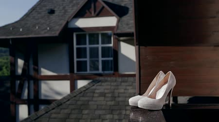 Wedding shoes on the terrace Stock Footage