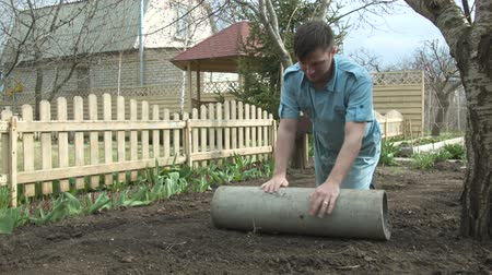 ortanca : The gardener strengthens the seeds of the lawn for growth Stok Video