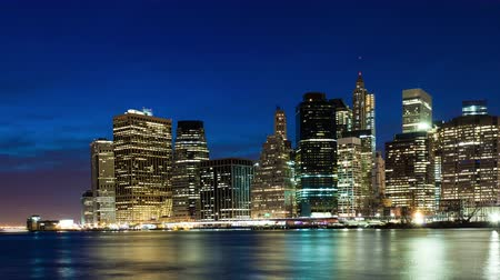 New York Lower Manhattan long exposure sunset evening to night time-lapse Wideo