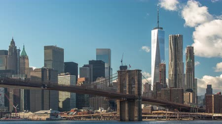 Time lapse daytime shot of lower Manhattan and Brooklyn bridge, New York, USA