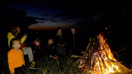 atividades : People in the camp are warming by the fire. They talk, drink tea, and look at the fire. In the frame, two moms, a father, and four teenage children. Stock Footage