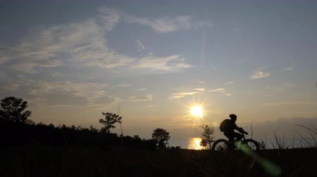 hind : Fat bike also called fatbike or fat-tire bike in summer riding in the grass. The athlete passes in a frame silhouette against a beautiful sunset on the sea. Everything happens in deep grass.