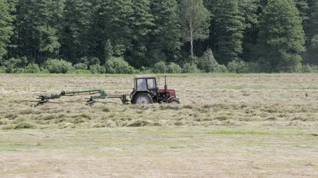 hay fields : The tractor turns the mechanical hay rake. Distance shot Stock Footage