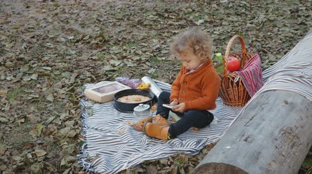 košíček : A small, funny child with curly hair plays with the phone on a picnic, he sits on a blanket around the dry foliage in the autumn park