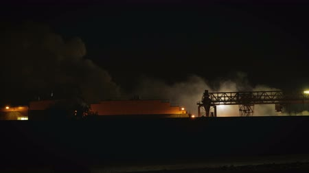 greenpeace : Night landscape of the plant with harmful emissions of smoke and steam into the atmosphere Stock Footage