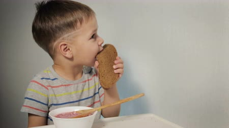 barszcz : A small, amusing kid eats at the table, bites a piece of bread, a hungry child Wideo