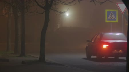cienie : Static shot of a night foggy city with passing cars and glare of headlights