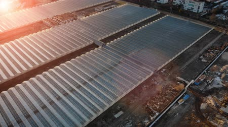 négyszögletes : Top view of many large, newly built glass greenhouses rectangular in the sunset light, on the ground in some places is snow. Aerial survey of vegetable farming. 4K resolution