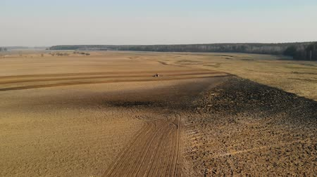 solo : Aerial shot of a blue tractor cultivating brown earth with a cultivator in Sunny spring, autumn weather against the backdrop of a picturesque forest. The concept of the beginning of the sowing season in agriculture