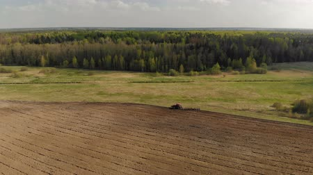 powerful : Aerial view from the side of a powerful red tractor with a plow, an agricultural machine that performs processing, plowing, processing of dark soil against the background of a magnificent picturesque nature with a forest. Many birds fly nearby Stock Footage