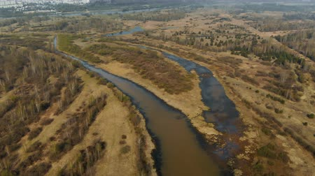 явление : Panorama of the river Delta. Beautiful view from above on the winding flat river plain. Aerial photography of the flooded floodplain