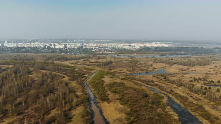 powódź : Panorama of the river Delta. Beautiful view from above on the winding flat river plain. Aerial photography of the flooded floodplain