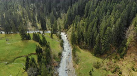 altura : Shooting from above a beautiful river in a mountain valley Stock Footage
