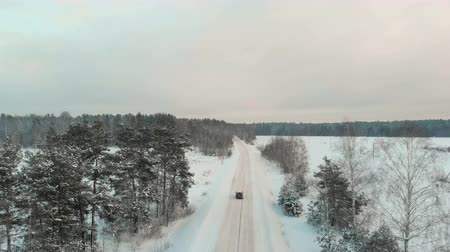 жесткий : Aerial view of the rear view of a black car driving on a snowy winter road among trees with bare branches in the countryside. The camera follows the vehicle