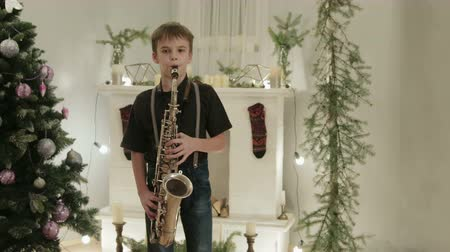 украшенный : Young saxophonist shows his Christmas performance on the instrument. It is in a beautiful, decorated room with a Christmas tree. The concept of new year