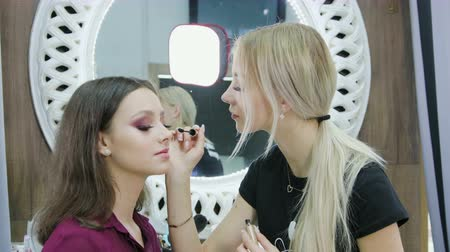 щеткой : Perform bright makeup. The master finishes the work and paints the eyelashes with mascara beautiful brunette girl in the salon of a beautician-makeup artist. Concept of beauty Стоковые видеозаписи