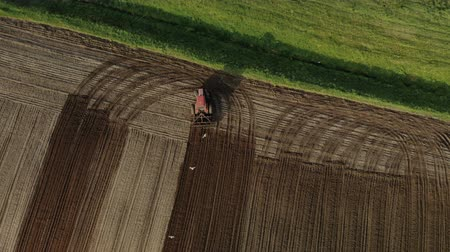 Aerial top view of a red tractor with dual wheels doing the processing brown soil with a disc cultivator, by flying birds. Agricultural sowing campaign the farmers