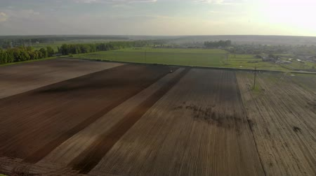 Aerial drone is a shot of magnificent nature with blue sky, brown agricultural field, tractor cultivating soil. Spring sowing campaign Стоковые видеозаписи