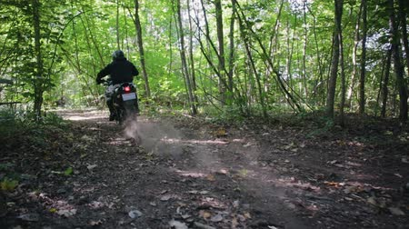motor vehicle : Athlete in protective gear on a motorcycle Enduro starts, dust and dirt fly from under the wheels. Race in the green forest over rough terrain. The concept of active recreation.