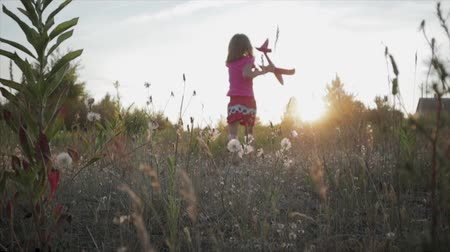zabawka : Handheld slow-motion shot of a rear view of an 8-year-old child running across a field toward sunset with a toy airplane in her hand. A girl in pink clothes launches a plane in Sunny summer weather